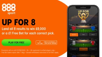 888.com – Land 8 Correct Win-Draw-Win Results and Be in with a Chance of £8,000.